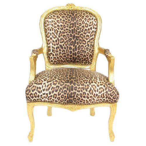 CHAIRS FRANCE BAROQUE STYLE LADY CHAIR WITH ARMRESTS GOLD / PANTHER #55F3
